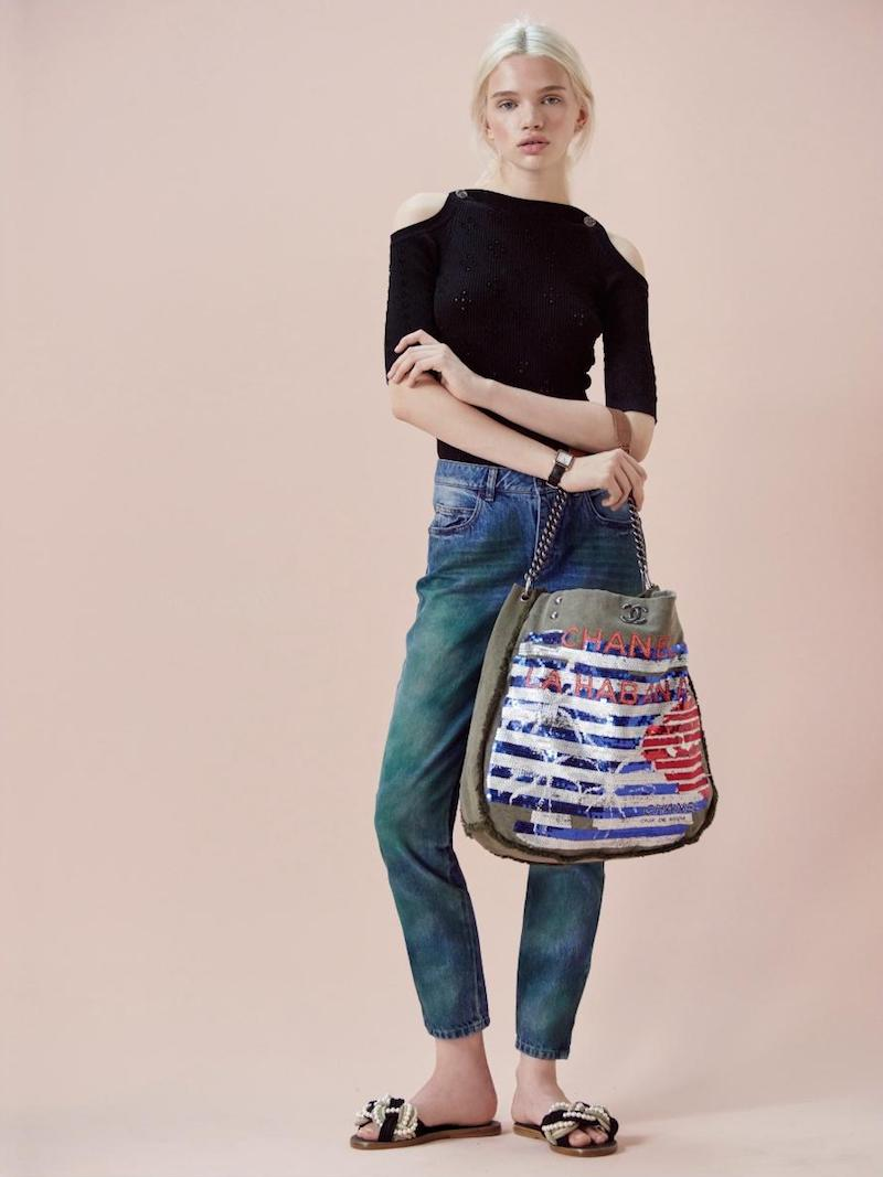 Chanel Large Canvas Sequin Tote