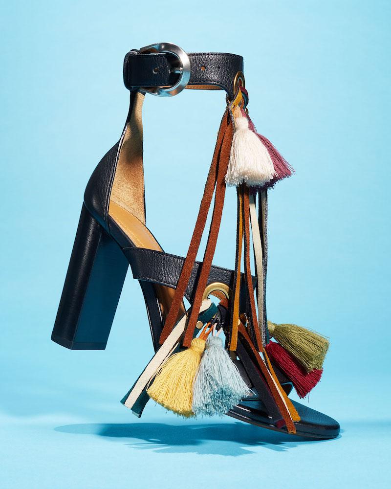 Chloe Tassel Fringe Leather 100mm Sandal