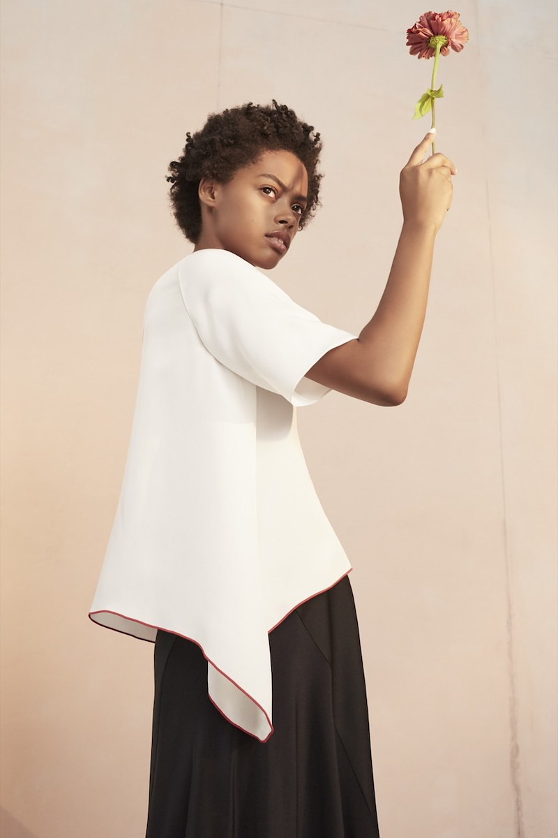 Colovos Asymmetrical Silk Tee