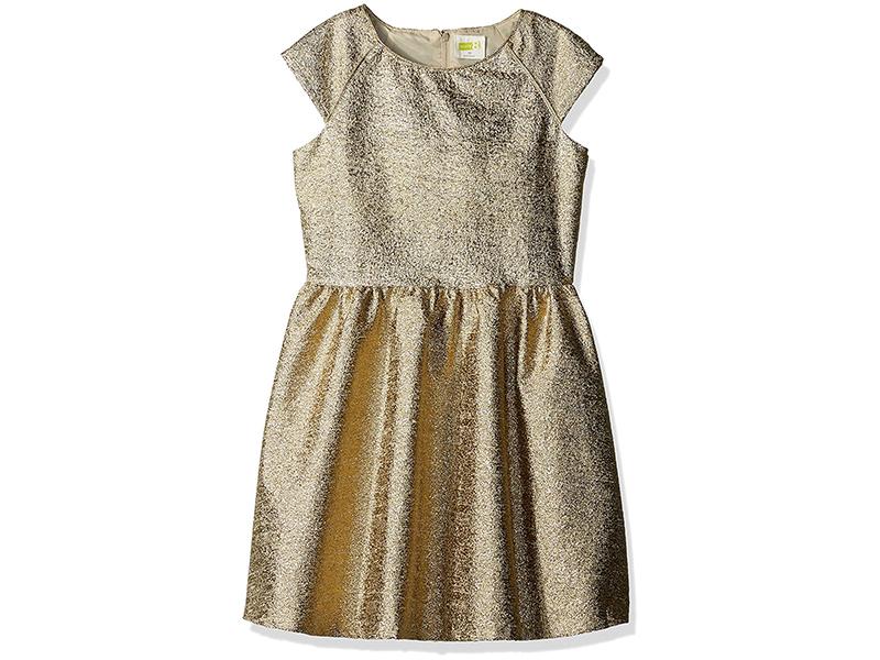 Crazy 8 Girls' Gold Boucle Cap-Sleeve Dress