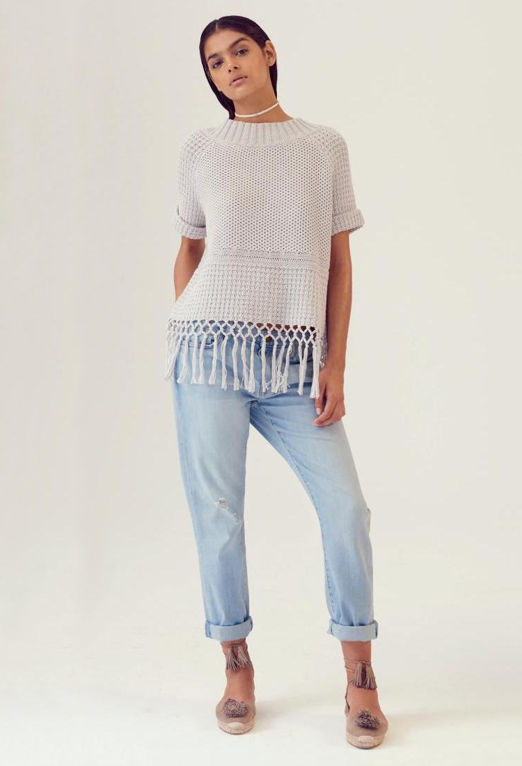 Current Elliott Peggy Fringe Hem Crochet Sweater