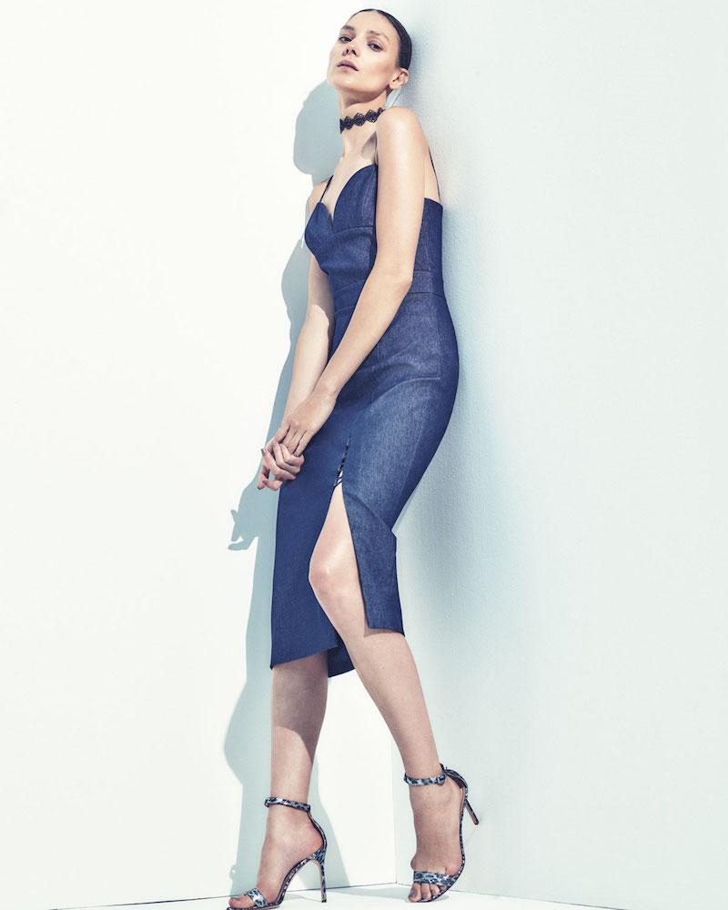 Cushnie Et Ochs Sleeveless Chambray Front-Slit Midi Dress