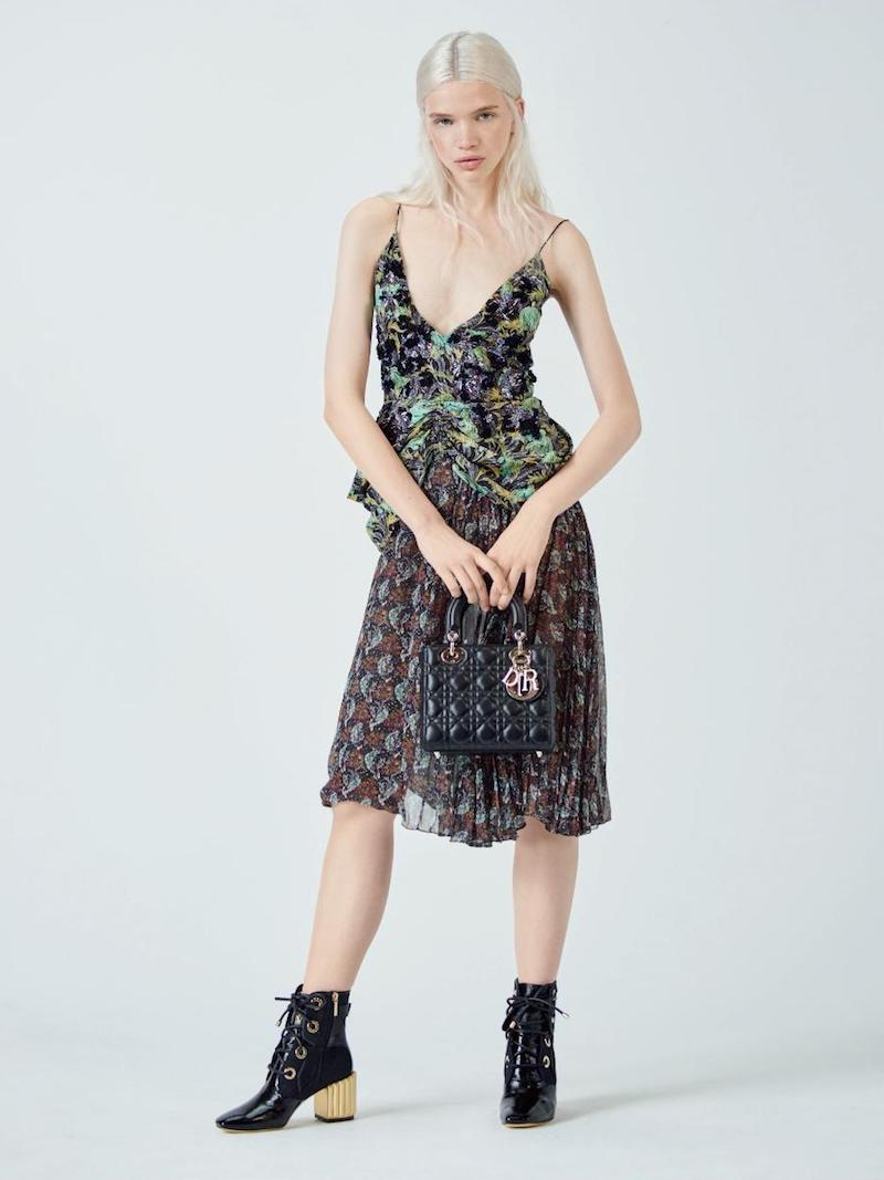 Dior Flower Bouquet-print Dress with Couture-inspired Peplum