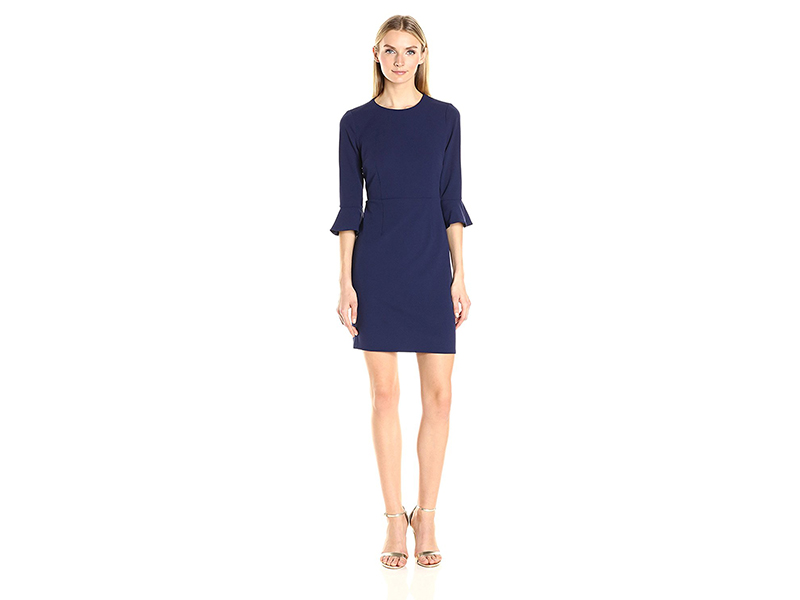 Donna Morgan Elbow Bell Sleeve Crepe Sheath