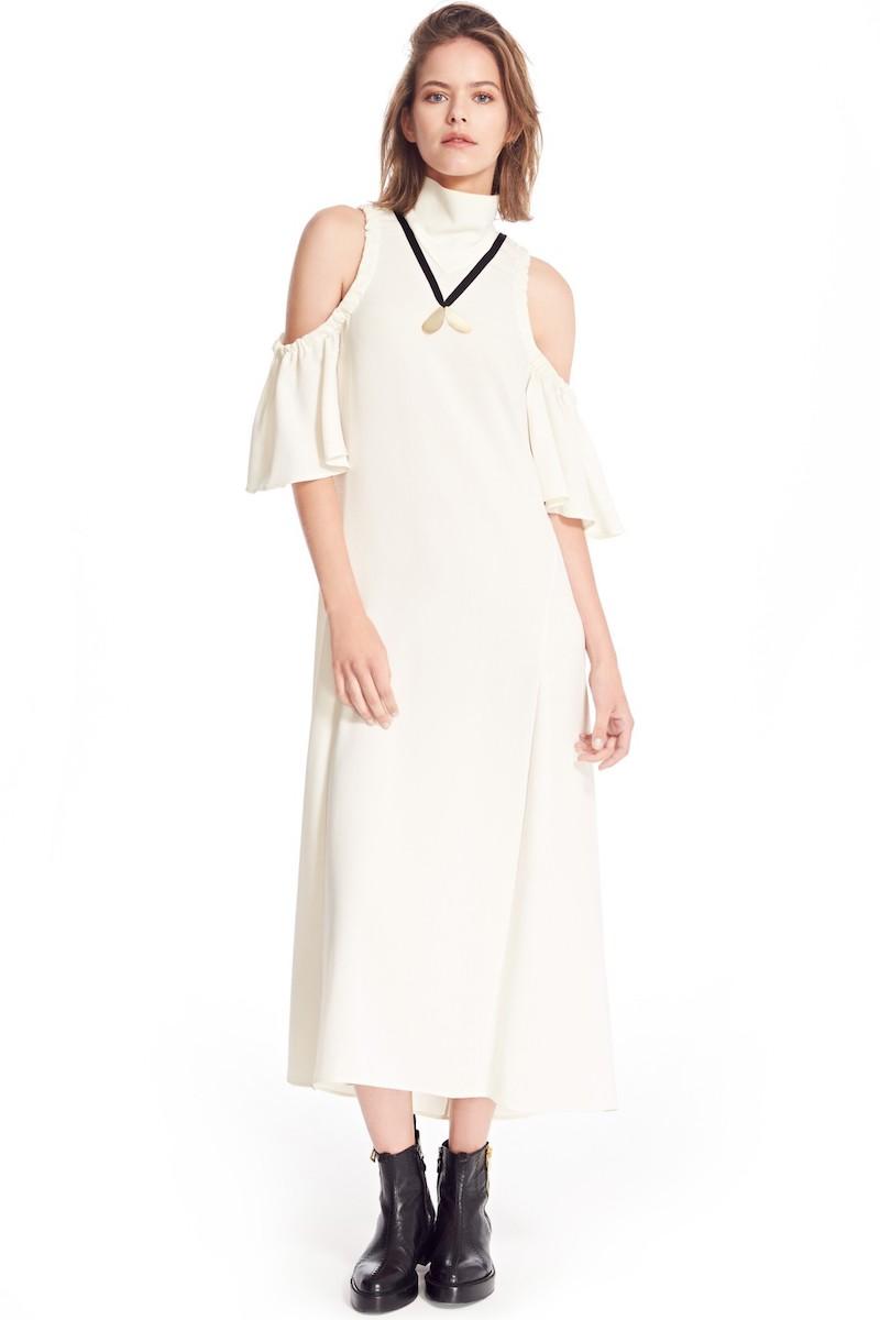 ELLERY Deity Ruched Cold Shoulder Dress