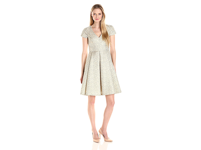 Eliza J Fit and Flare Jacquard Dress with V-Neckline
