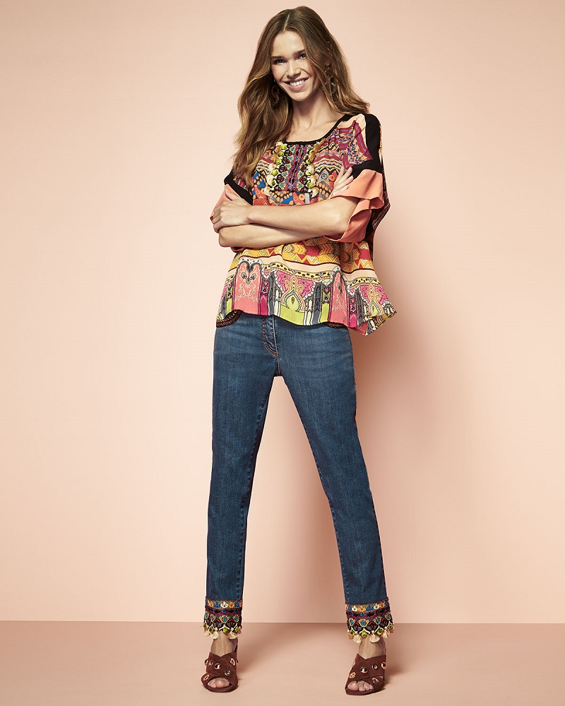 Etro Tassel-Trim Half-Sleeve Peasant Top