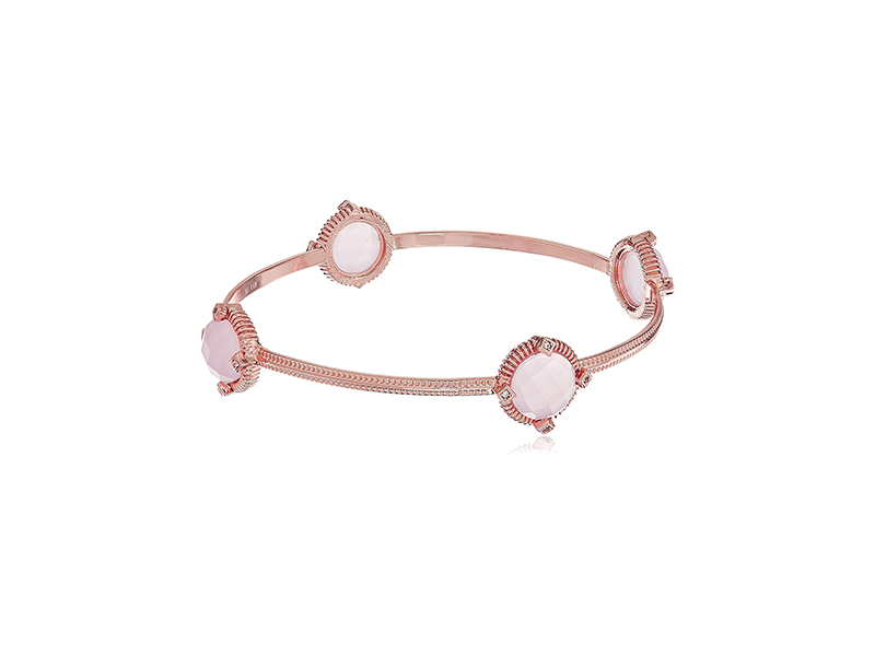 Faceted Glass & Cubic Zirconia Station Bangle Bracelet
