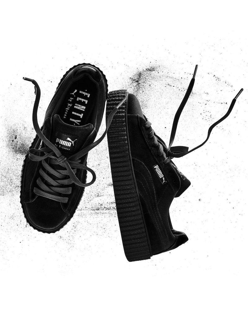 Fenty Puma by Rihanna Velvet Low-Top Creeper in Black