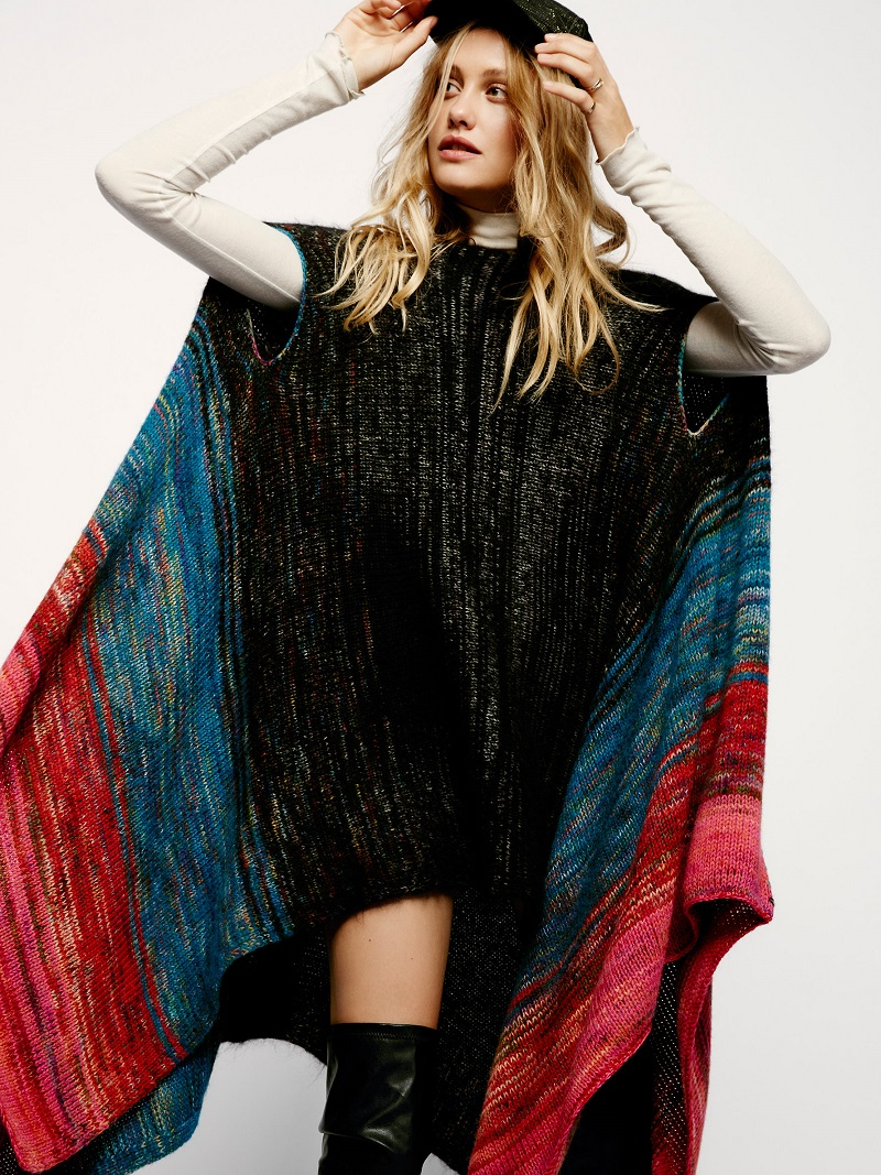 Free People Gemstone Stripe Poncho