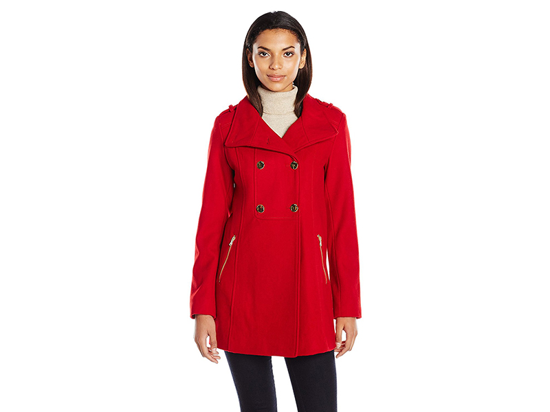 GUESS Melton Wool Military a Line Coat
