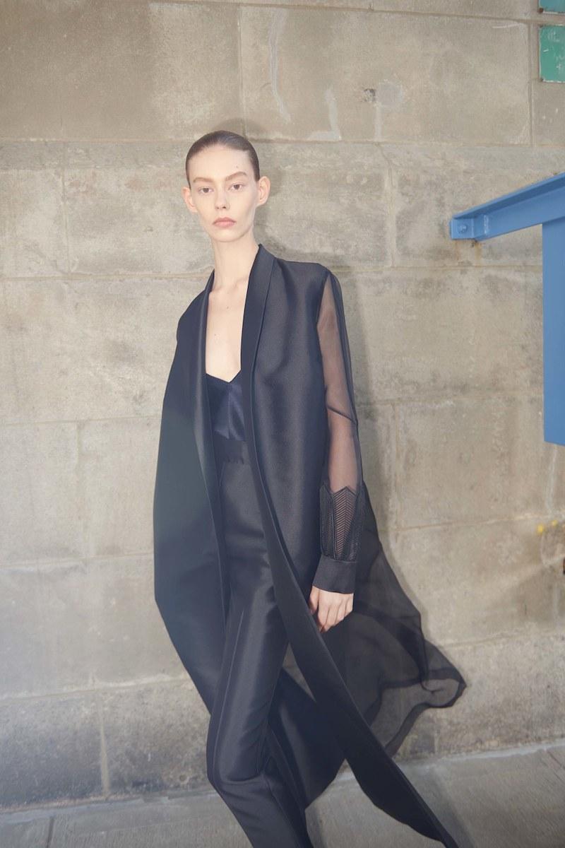 Gabriela Hearst Jolies Sheer-Sleeve Tie-Waist Coat