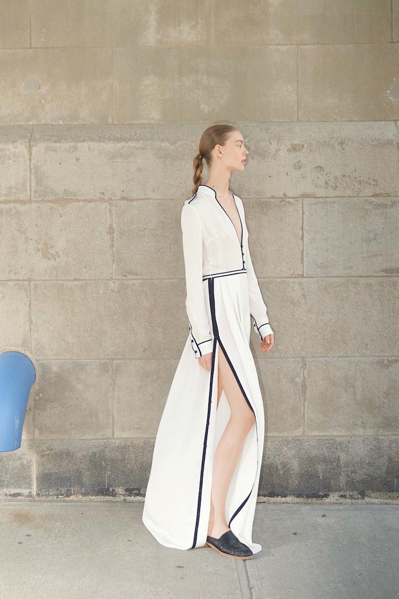 Gabriela Hearst Russel Contrast-Piping Silk-Georgette Gown