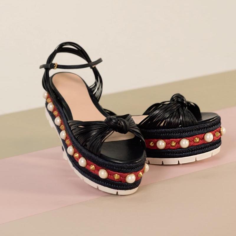 Gucci Barbette Leather Studded Platform Sandals