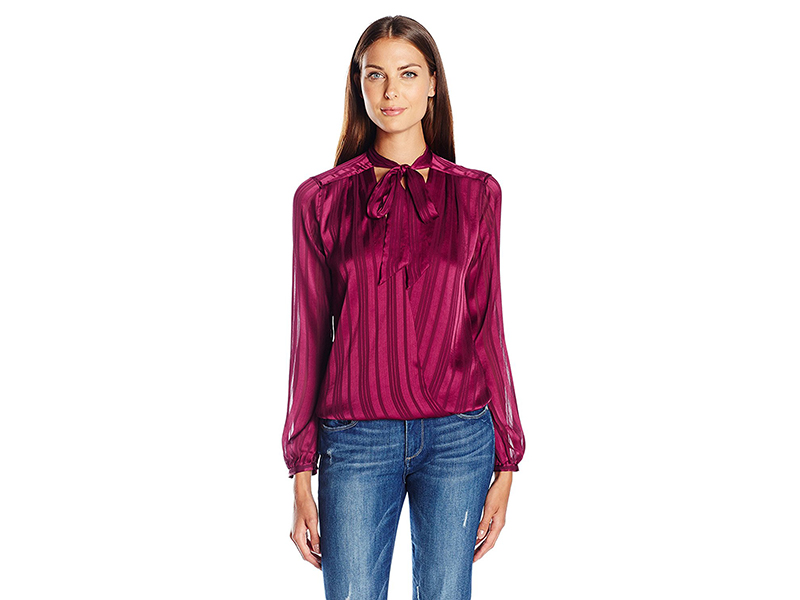 Guess Long Sleeve Bellissa Surplice Shirt