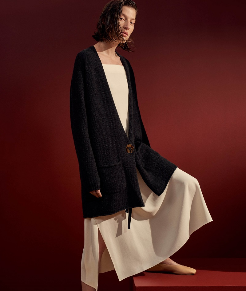 Helmut Lang Oversized Wool-Cashmere Cardigan