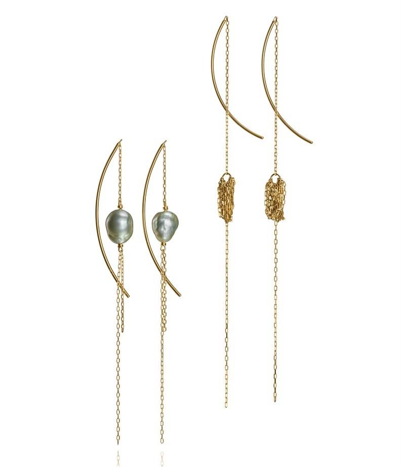 Hirotaka Crinoid Long Tassel Earrings