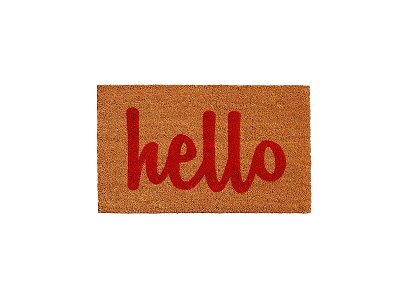 Home & More Natural/Red Script Hello Doorma