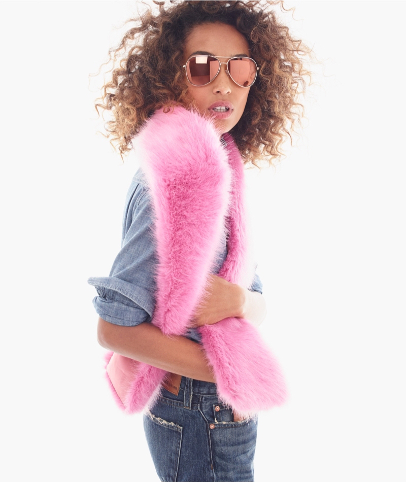 J.Crew Bright Pink Faux-Fur Stole