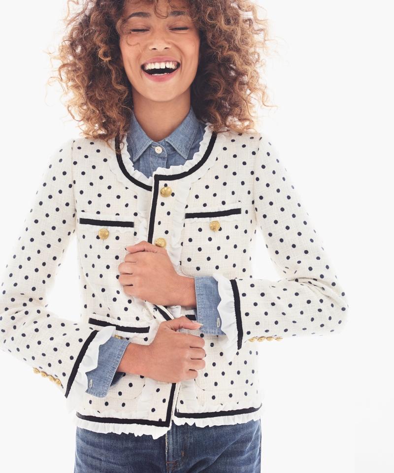 J.Crew Collection Polka-Dot Lady Jacket With Ruffle Chiffon Trim