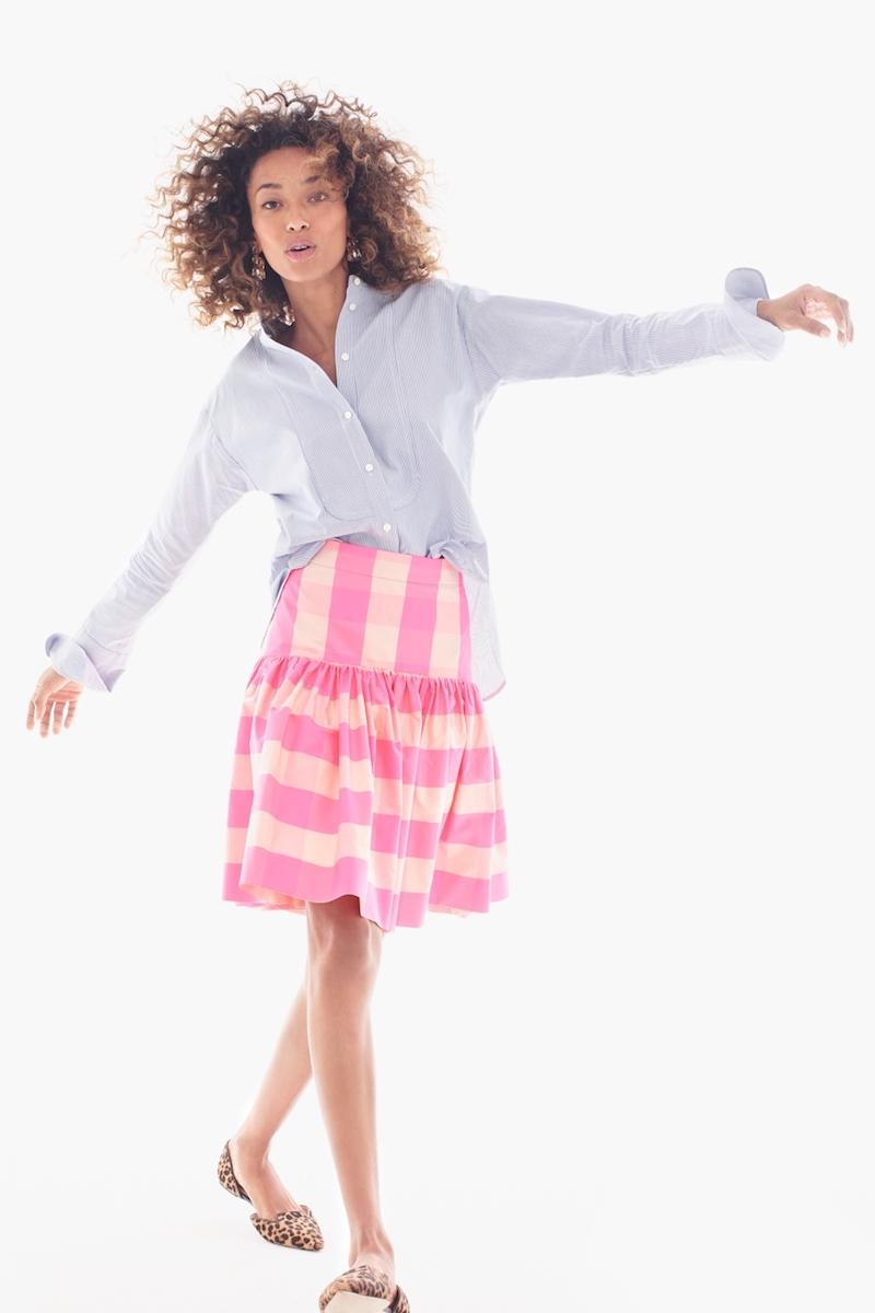 J.Crew Taffeta Skirt In Neon Buffalo Check