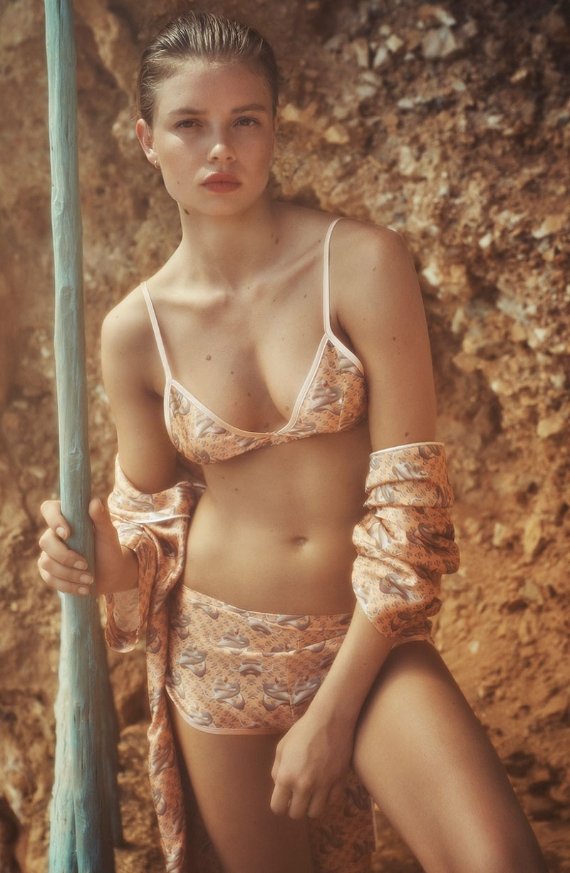 Katie Eary Snake-print silk-satin bra