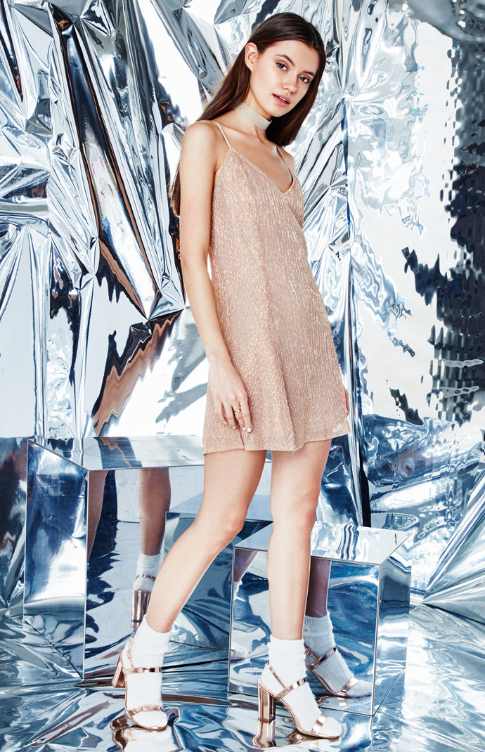 Kendall and Kylie Metallic Mini Dress
