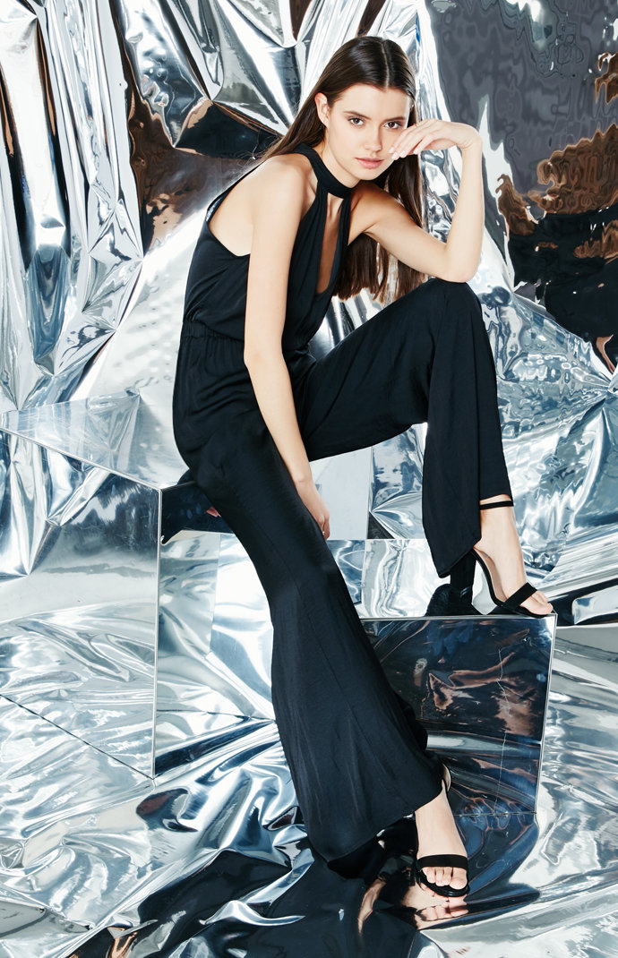 Kendall and Kylie Silky Mock Neck Cutout Jumpsuit