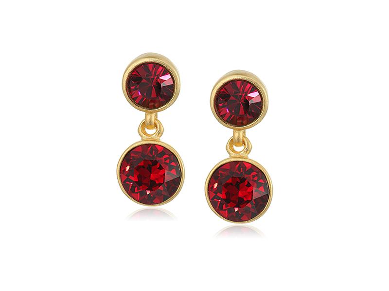 Kenneth Jay Lane 2 Drop Post Earring In Gold Ruby Drop Earring