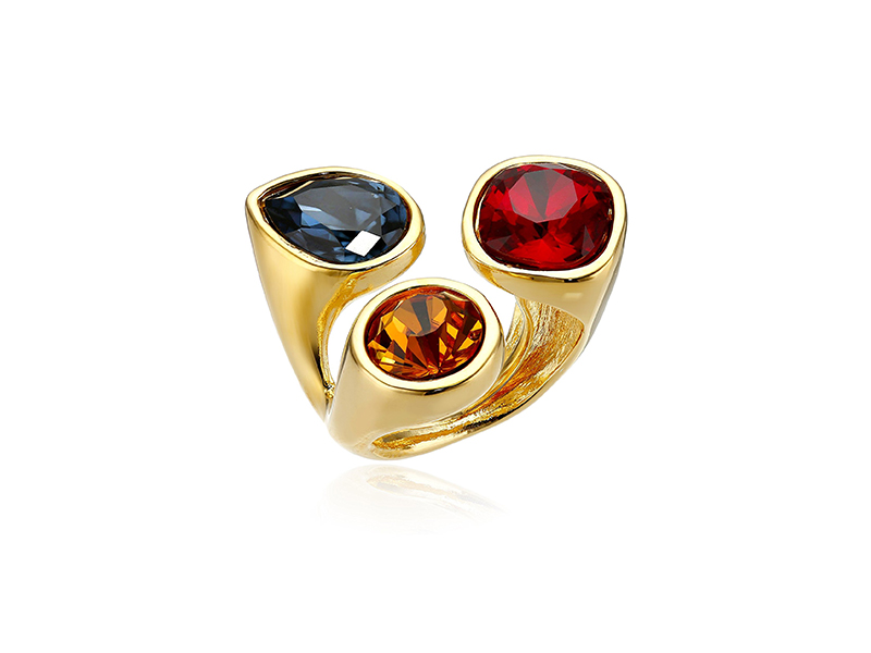Kenneth Jay Lane Gold-Plated and Multi-Dark Gem Cluster Adjustable Ring