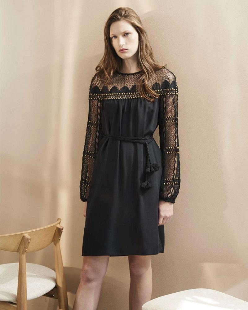 Kobi Halperin Paidyn Embellished Lace-Yoke Silk Dress
