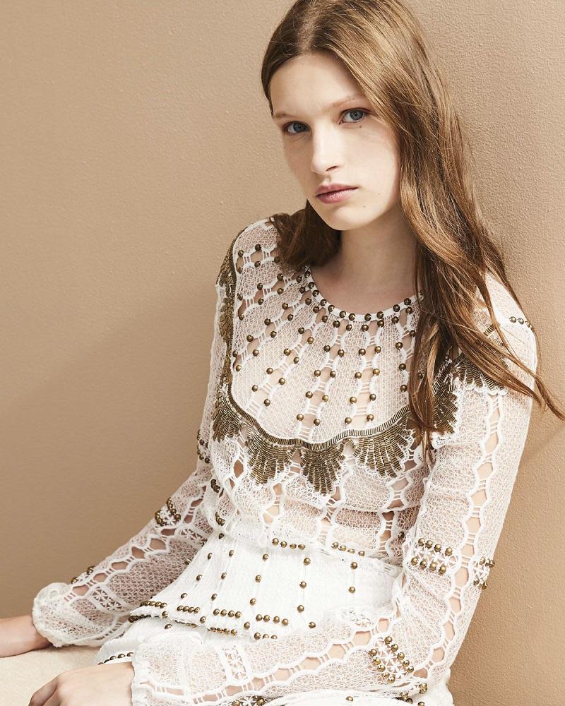 Kobi Halperin Rikki Long-Sleeve Beaded Crochet Blouse