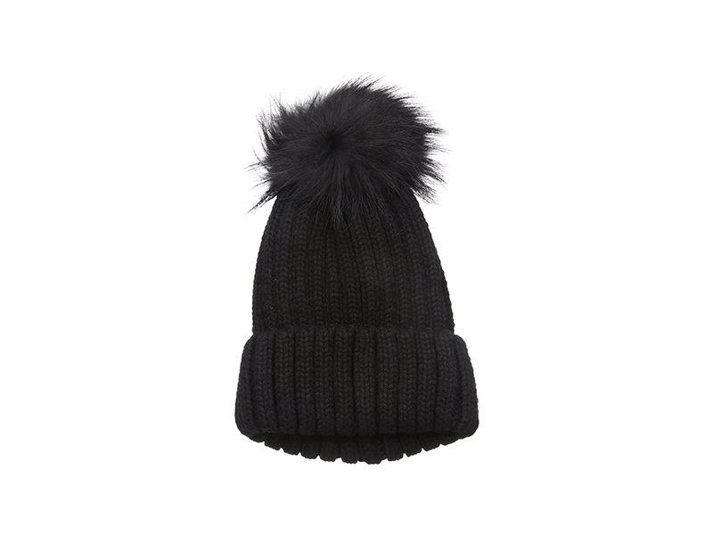 La Fiorentina Knit Beanie with Fur Pom
