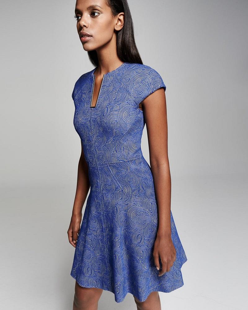 Lela Rose Blair Swirl-Jacquard Cap-Sleeve Dress