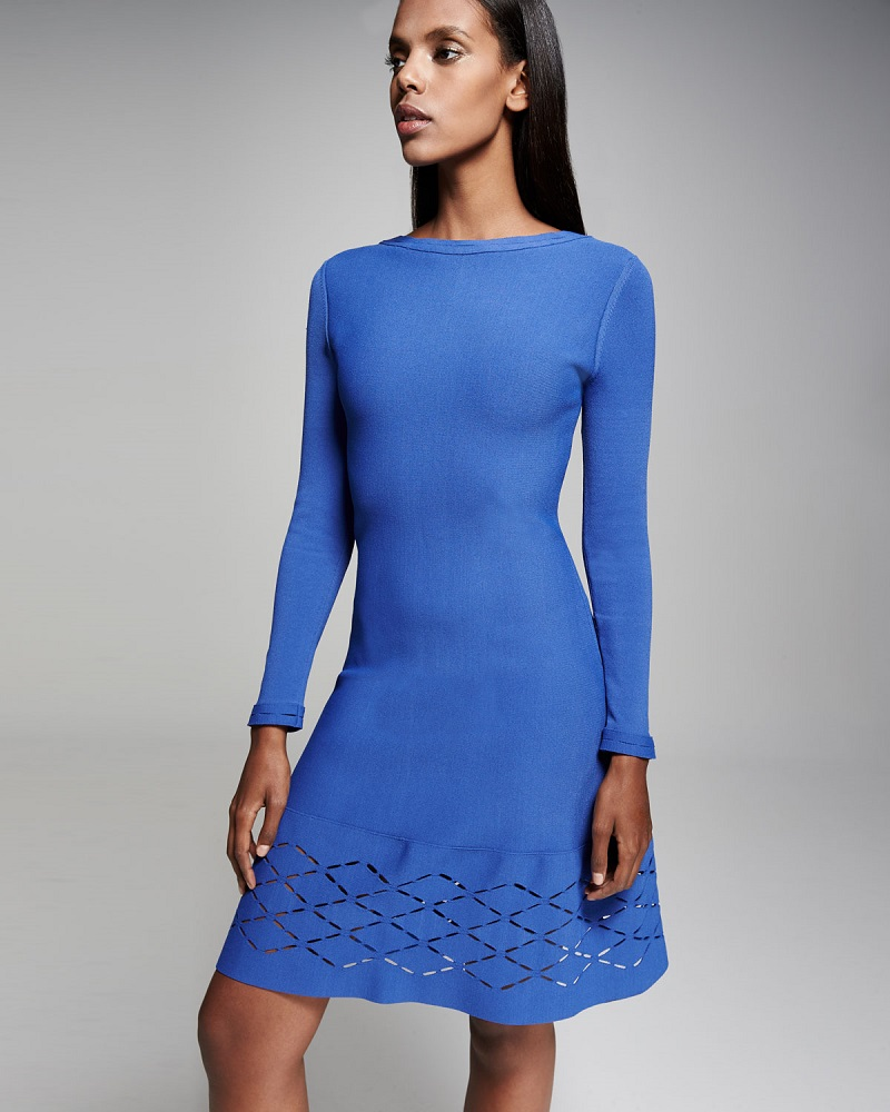 Lela Rose Diamond Laser-Cut Long-Sleeve Dress