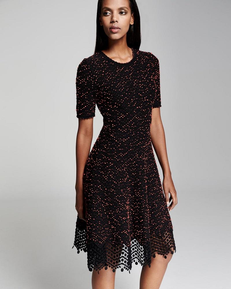 Lela Rose Speckled-Tweed Lace-Hem Dress