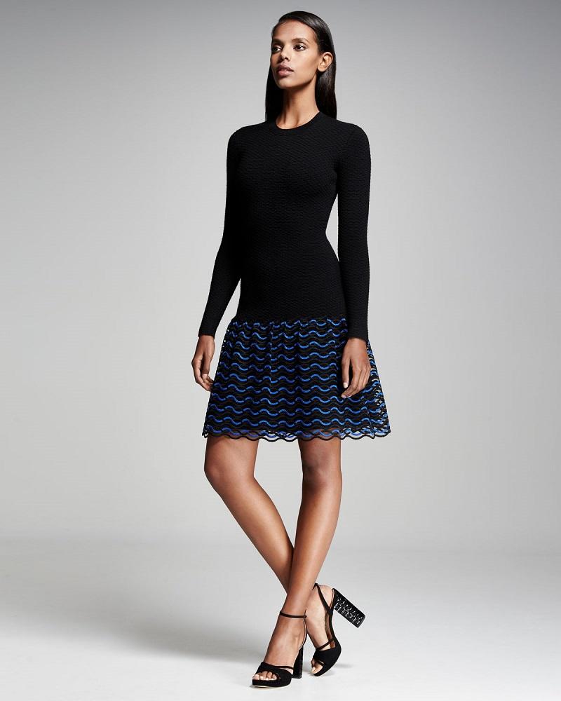Lela Rose Wave-Lace Long-Sleeve Dress