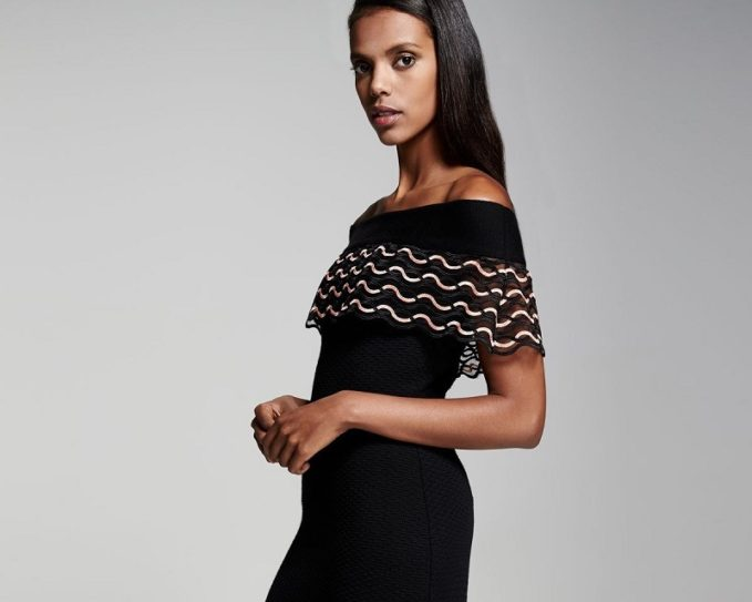 Lela Rose Wave-Lace Off-the-Shoulder Dress