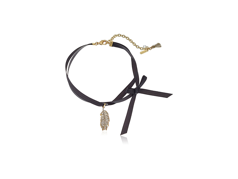 Lonna & Lilly Gold-Tone Pave Feather and Ribbon Choker Necklace