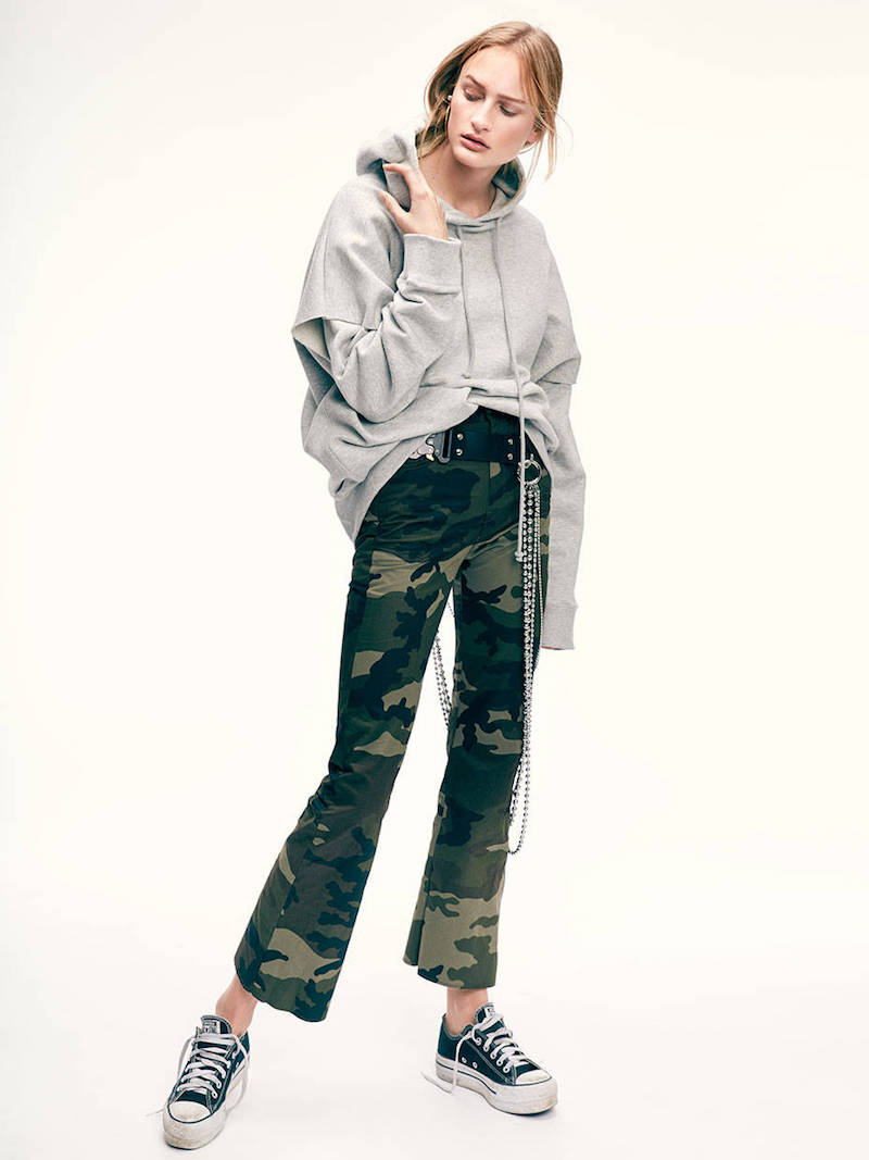 MM6 Di Maison Margiela Cropped & Flared Camouflage Cotton Pants
