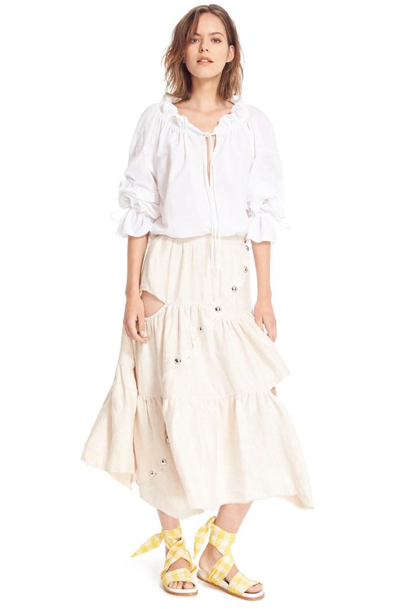 Marques'Almeida Diagonal Snap Tiered Linen Skirt