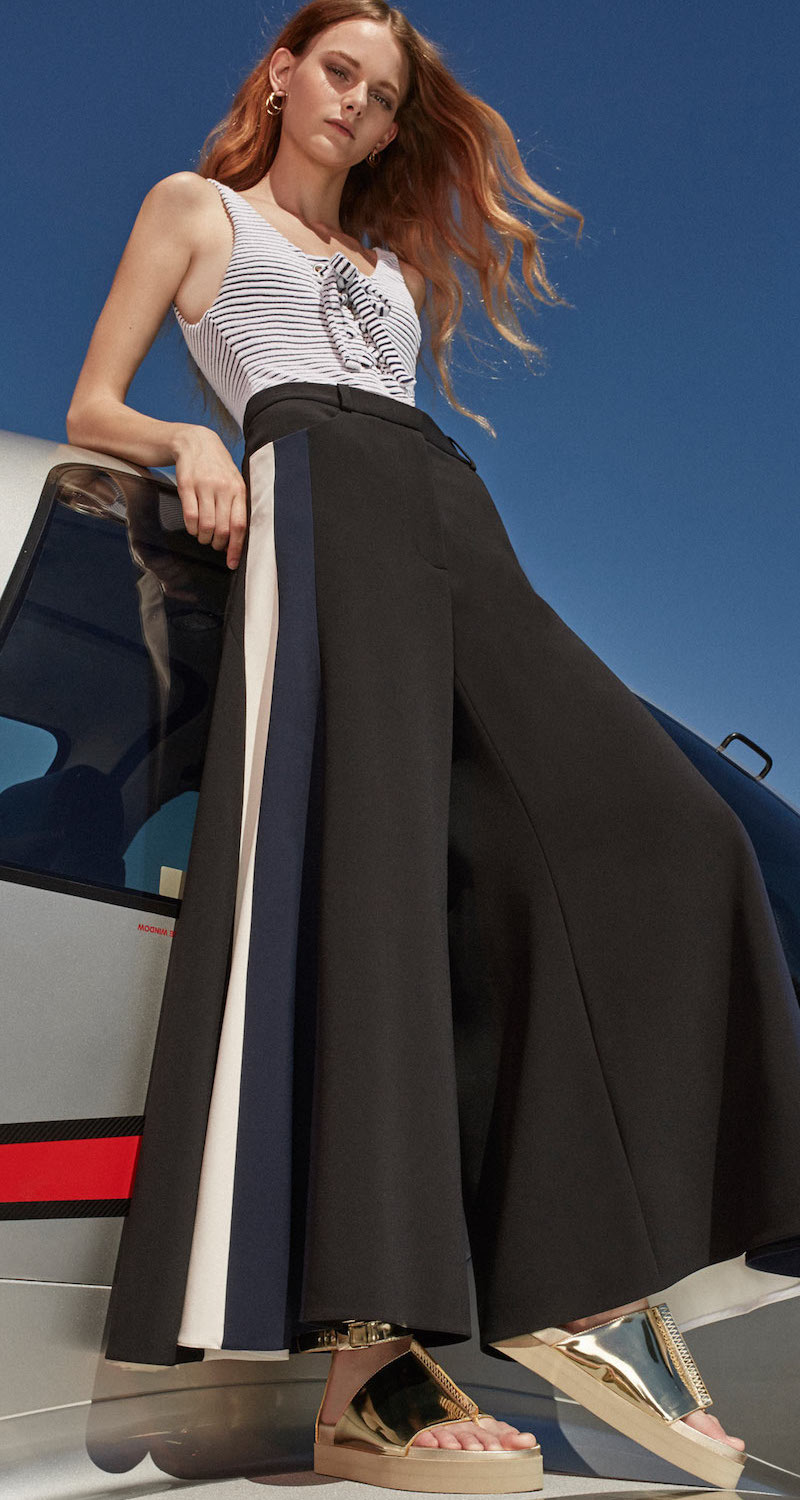 Martin Grant Contrast Piping Wide Leg Pants