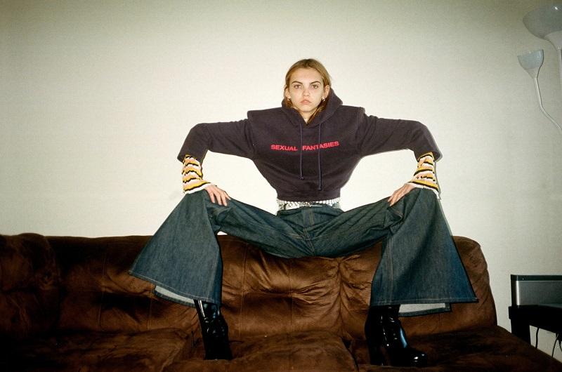 Matthew Adams Dolan Indigo Flared Split Hem Jeans