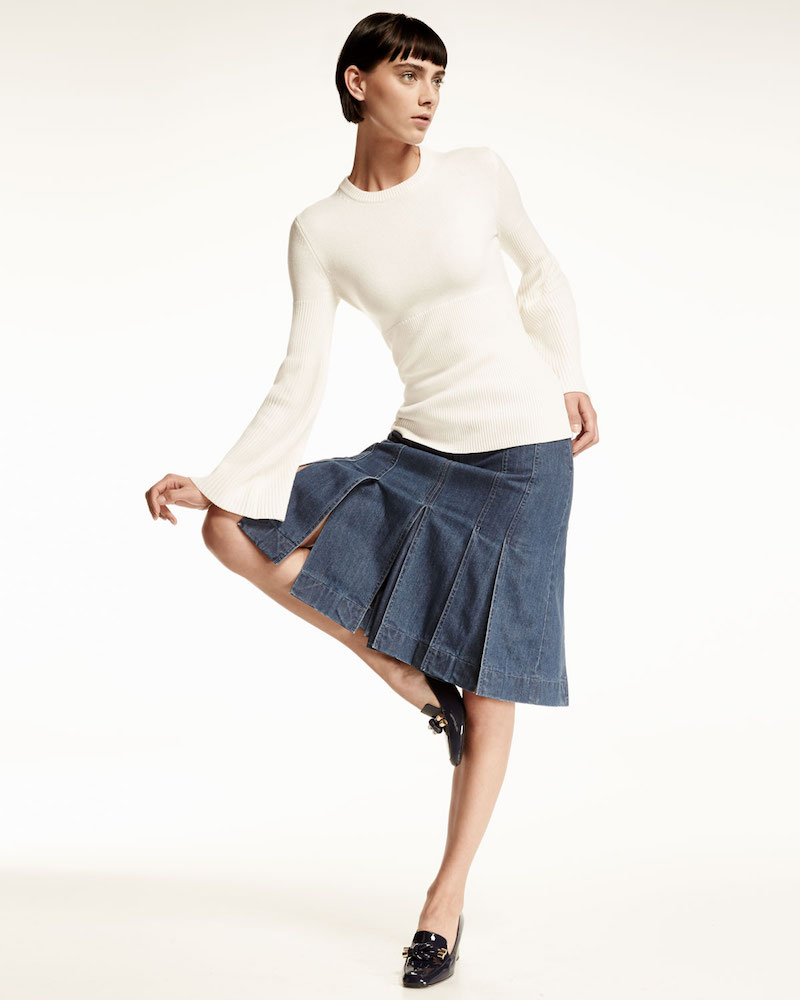 Michael Kors Cashmere Bell-Sleeve Ribbed Sweater