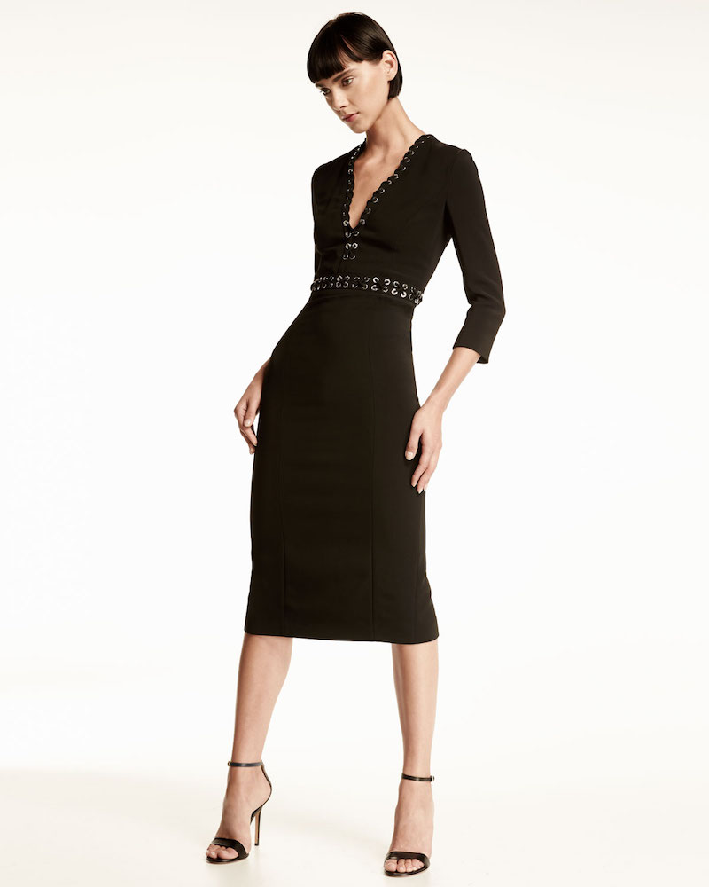 Michael Kors Grommet-Trim V-Neck Sheath Dress