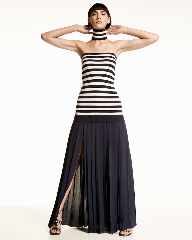 Michael Kors Pleated Front-Slit Maxi Skirt