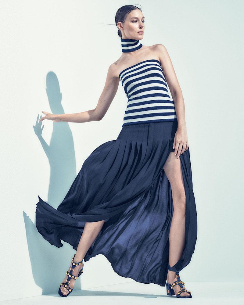 Michael Kors Pleated Front-Slit Maxi Skirt