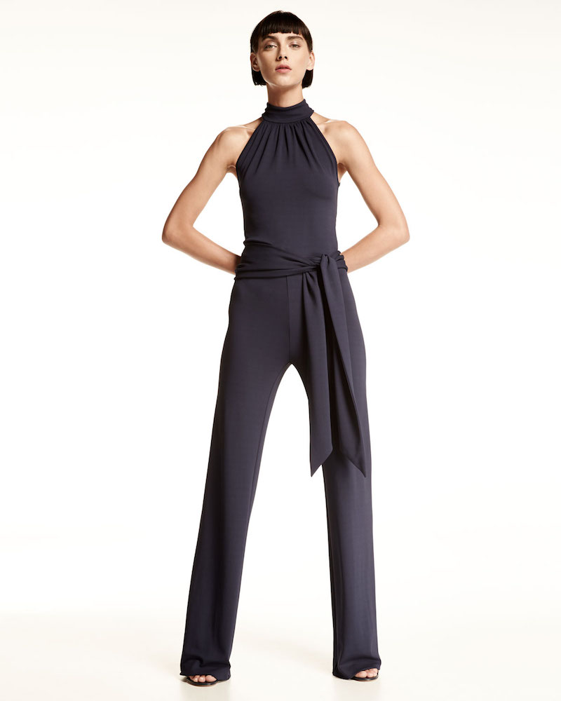 Michael Kors Sleeveless Halter Jumpsuit with Sash
