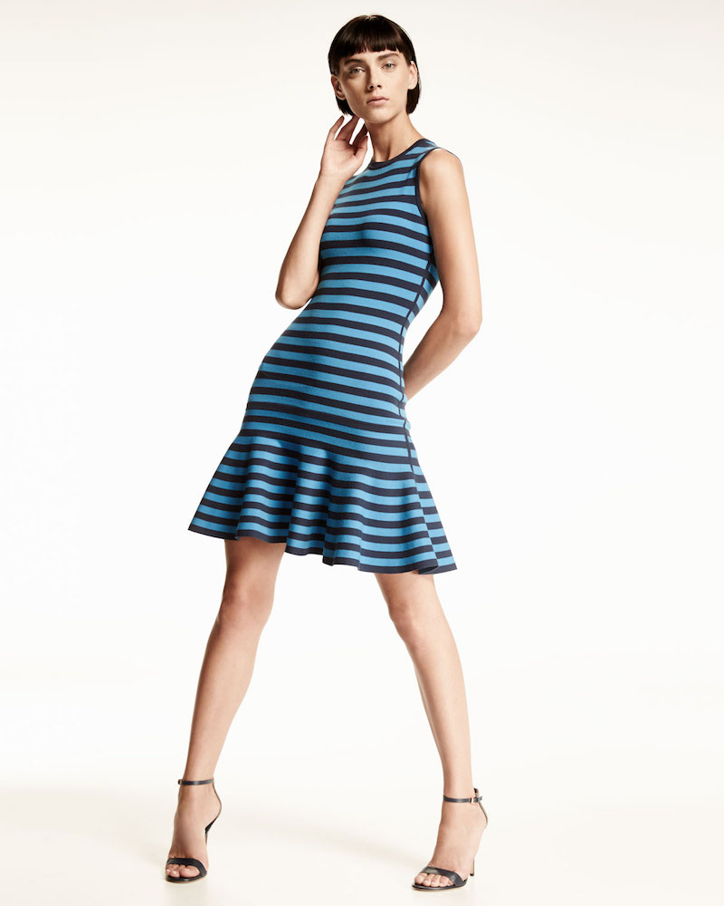 Michael Kors Striped Sleeveless Flounce Dress