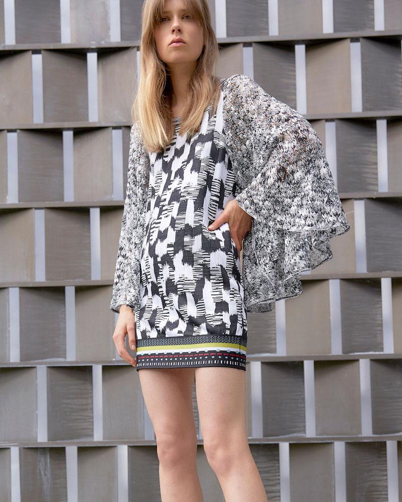 Missoni Butterfly-Sleeve Jacquard Mini Dress